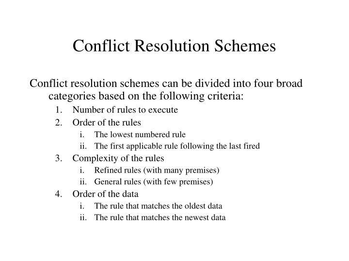 Conflict Resolution Schemes