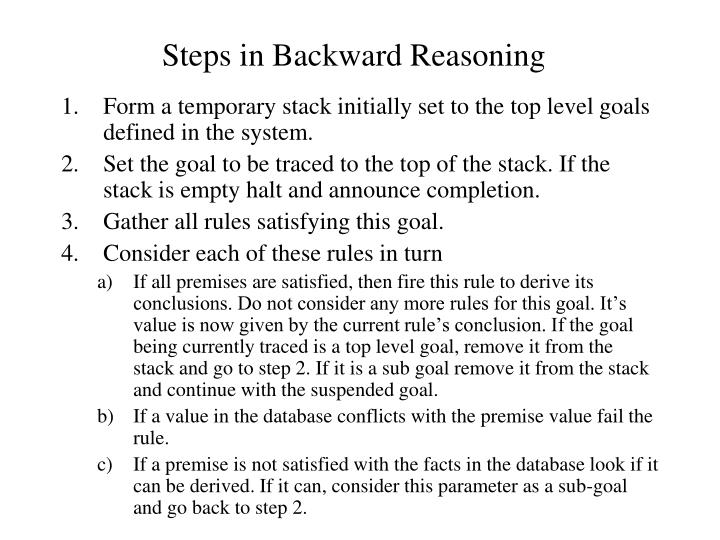 Steps in Backward Reasoning