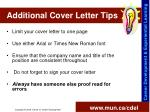 additional cover letter tips