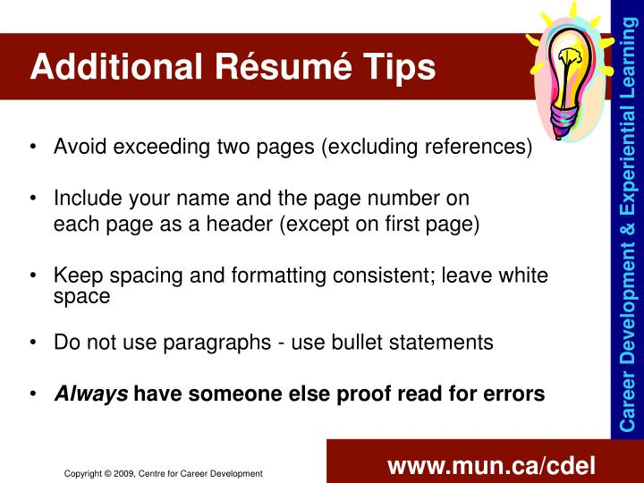Additional Résumé Tips