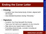 ending the cover letter