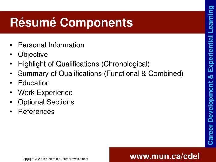 Résumé Components