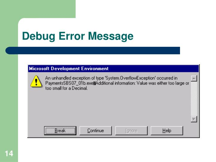 Debug Error Message