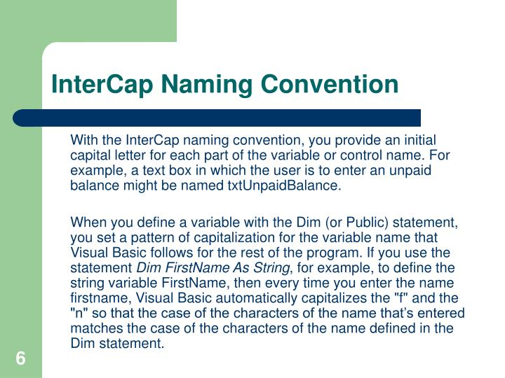 InterCap Naming Convention