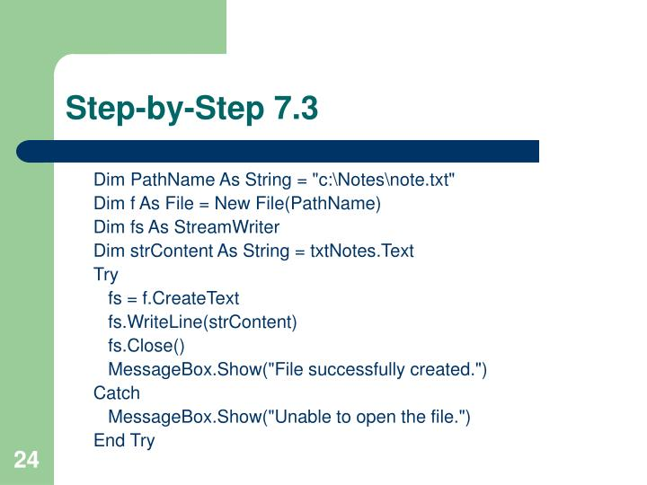 Step-by-Step 7.3