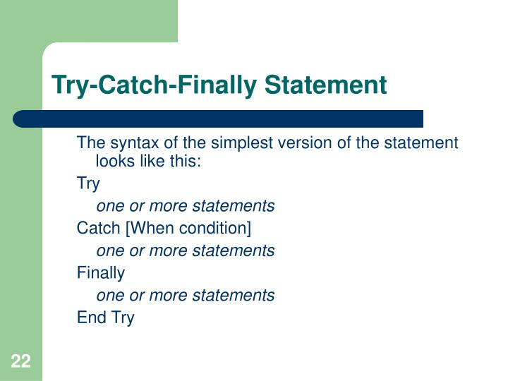 Try-Catch-Finally Statement