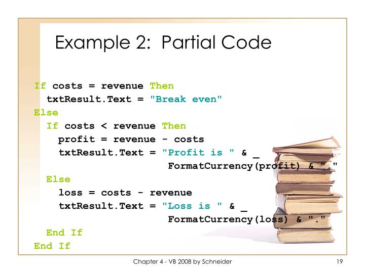 Example 2:  Partial Code