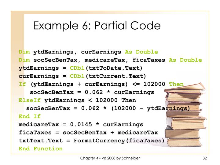 Example 6: Partial Code