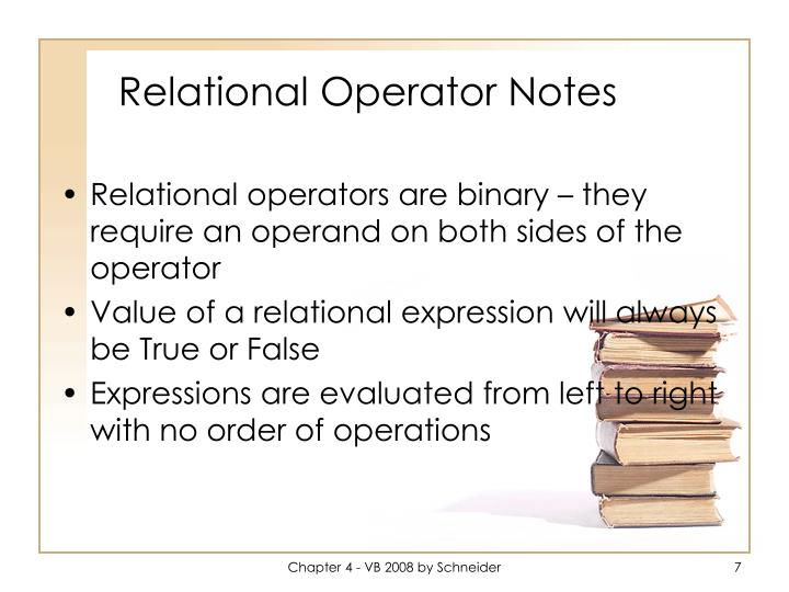 Relational Operator Notes