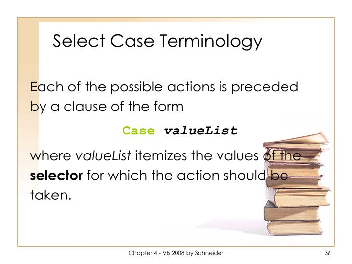 Select Case Terminology
