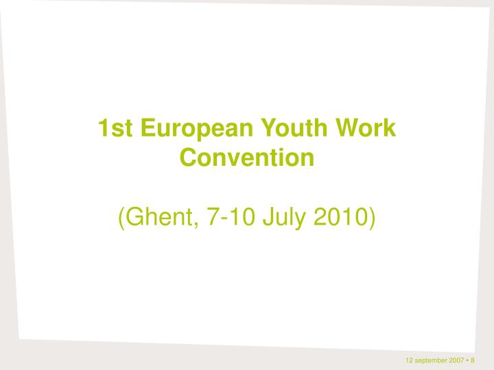 1st European Youth Work Convention