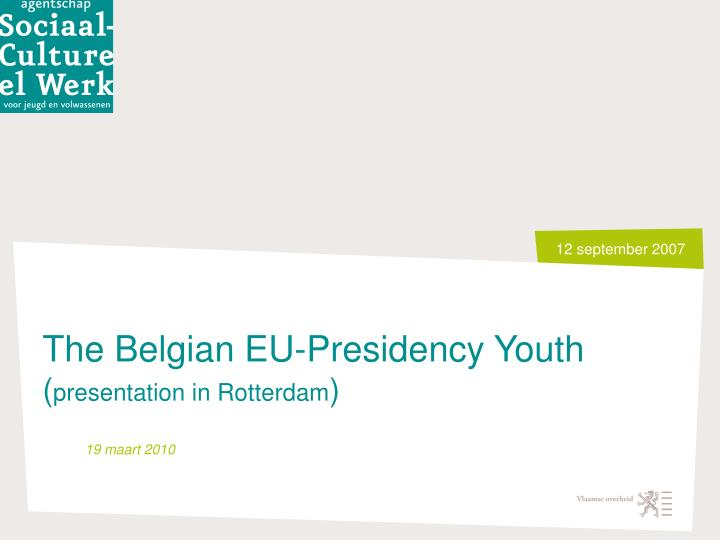 The Belgian EU-Presidency Youth