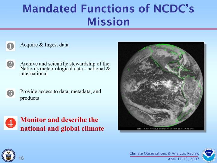 Mandated Functions of NCDC's Mission