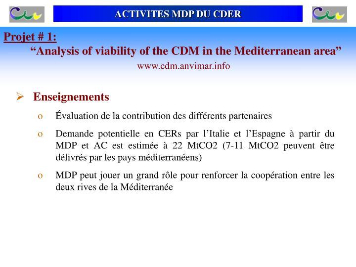 ACTIVITES MDP DU CDER