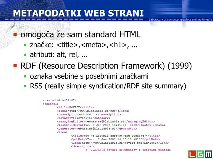 METAPODATKI WEB STRANI