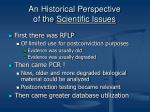an historical perspective of the scientific issues