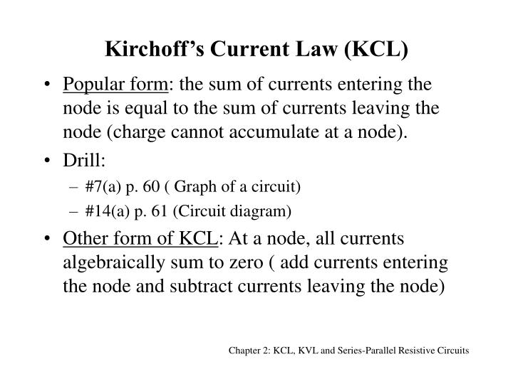 Kirchoff s current law kcl
