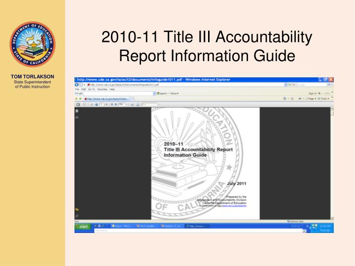 2010-11 Title III Accountability Report Information Guide