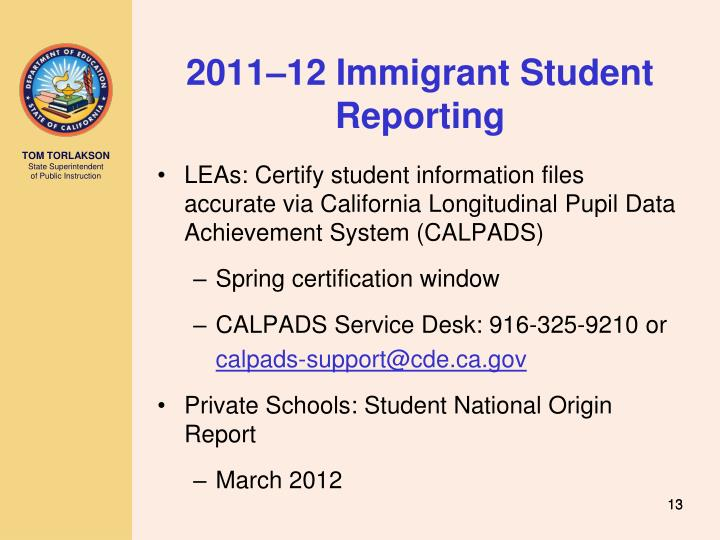 2011–12 Immigrant Student Reporting