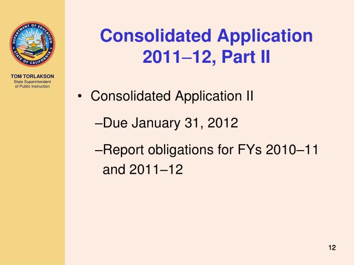 Consolidated Application 2011