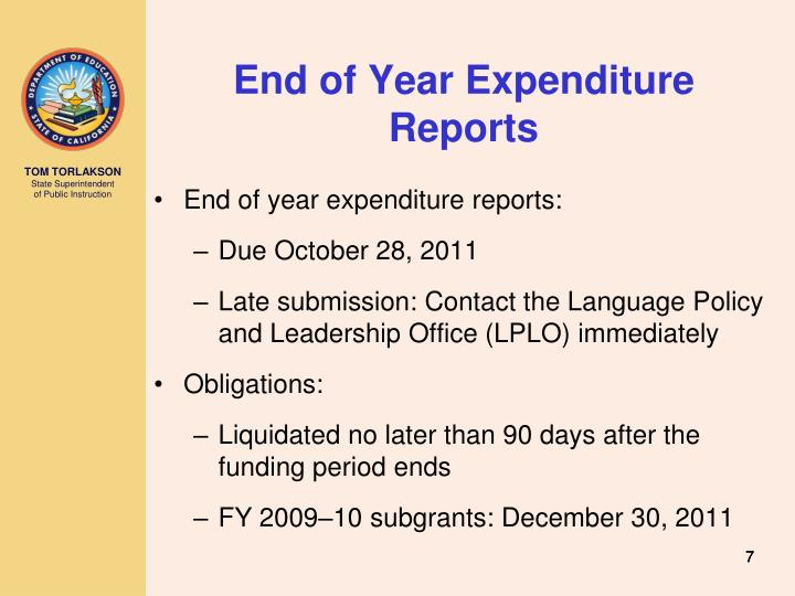 End of Year Expenditure Reports