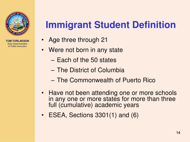 Immigrant Student Definition