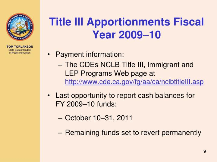 Title III Apportionments Fiscal Year 2009