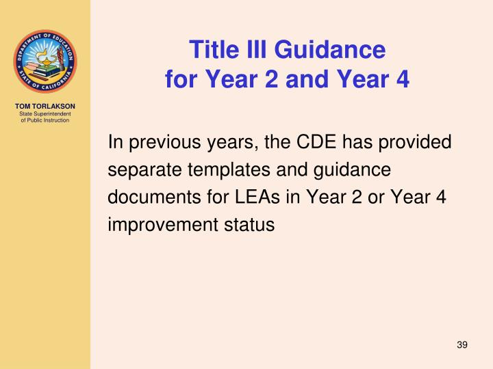 Title III Guidance