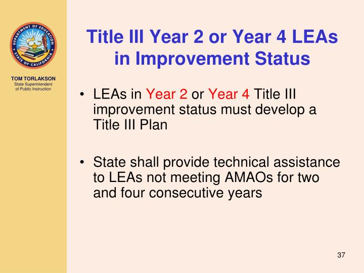 Title III Year 2 or Year 4 LEAs in Improvement Status