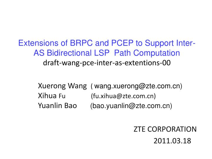 Extensions of BRPC and PCEP to Support Inter-AS Bidirectional LSP  Path Computation