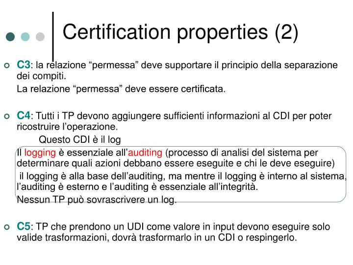 Certification properties (2)