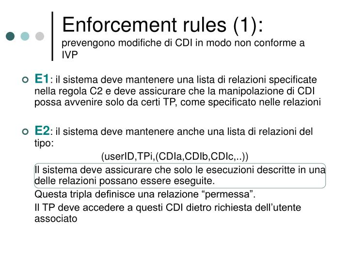 Enforcement rules (1):