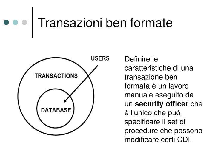 Definire le caratteristiche di una transazione ben formata è un lavoro manuale eseguito da un