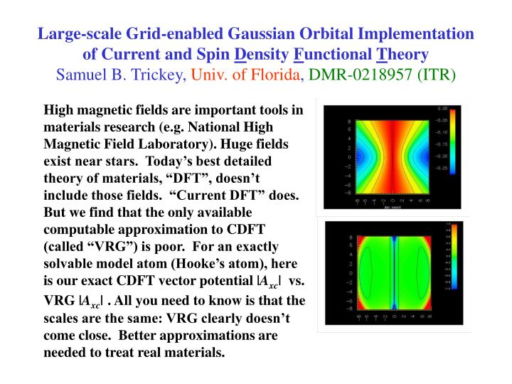 Large-scale Grid-enabled Gaussian Orbital Implementation of Current and Spin
