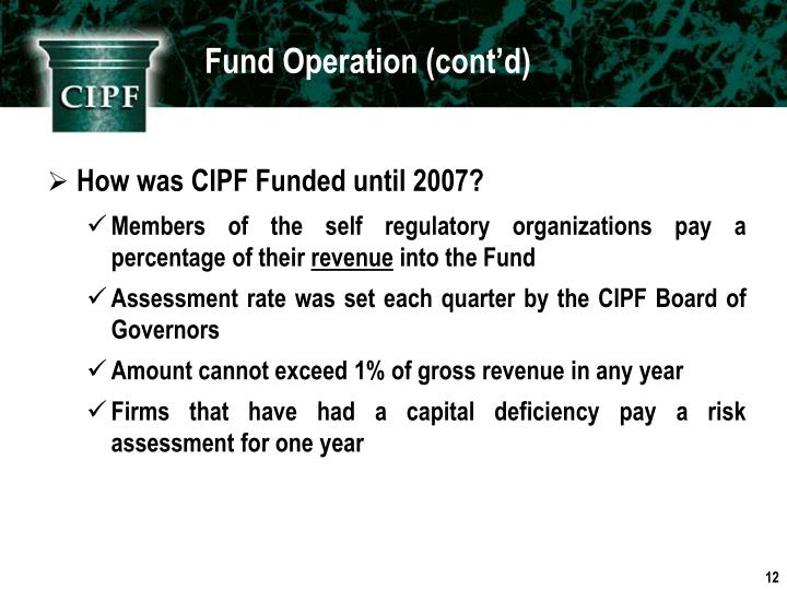 Fund Operation (cont'd)