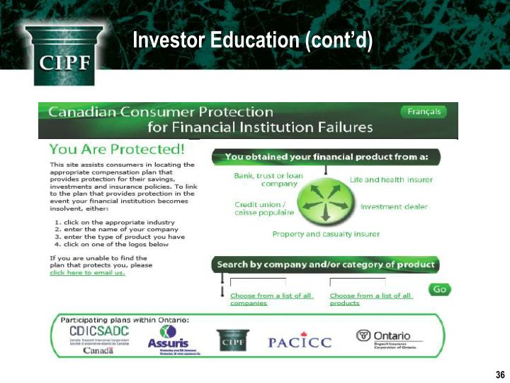 Investor Education (cont'd)