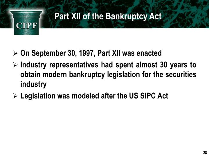 Part XII of the Bankruptcy Act