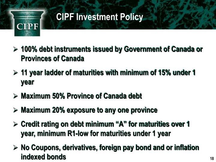 CIPF Investment Policy