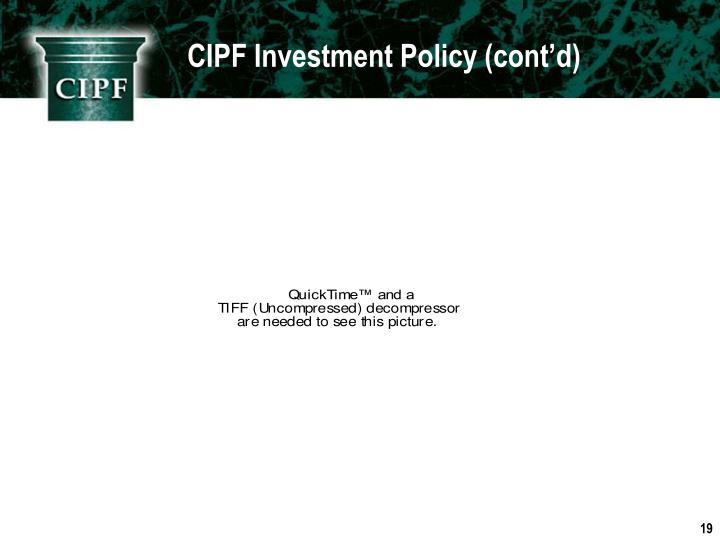 CIPF Investment Policy (cont'd)