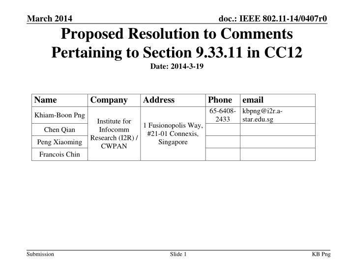 Proposed resolution to comments pertaining to section 9 33 11 in cc12 date 20 14 3 19
