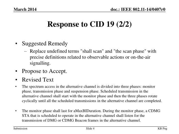 Response to CID 19 (2/2)