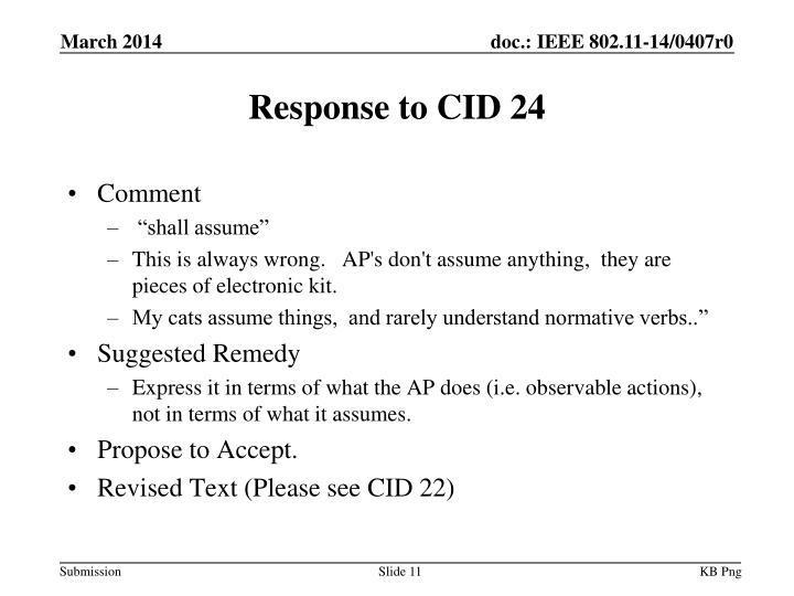 Response to CID 24