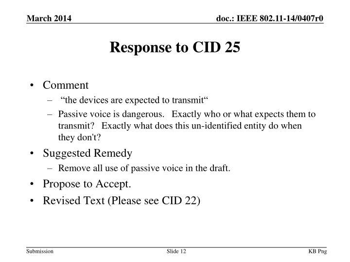 Response to CID 25