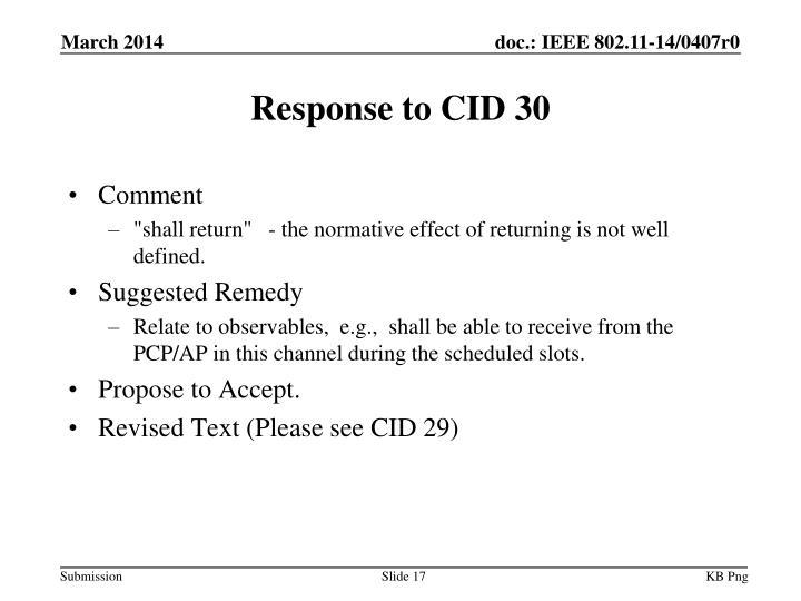 Response to CID 30