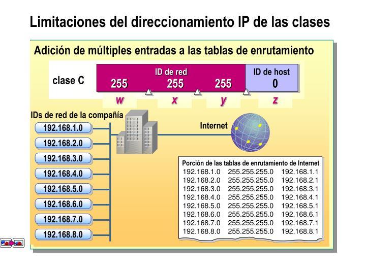 Adición de múltiples entradas a las tablas de enrutamiento