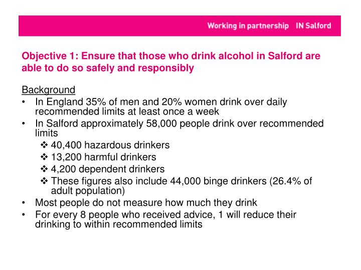 Objective 1: Ensure that those who drink alcohol in Salford are able to do so safely and responsibly