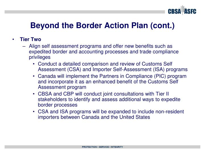 Beyond the Border Action Plan (cont.)