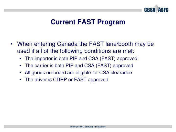 Current FAST Program