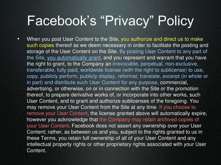 "Facebook's ""Privacy"" Policy"