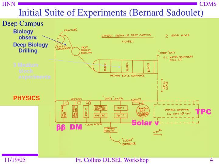 Initial Suite of Experiments (Bernard Sadoulet)